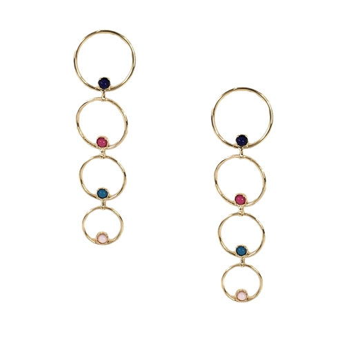 "The Nubia earrings are aptly named ""golden treasure"" These long cascading circles feature multi colored stones that will add the right touch of elegance to top your look. Lightweight design for comfortable all day wear. Curated for The Bagtique Jewelry Co"
