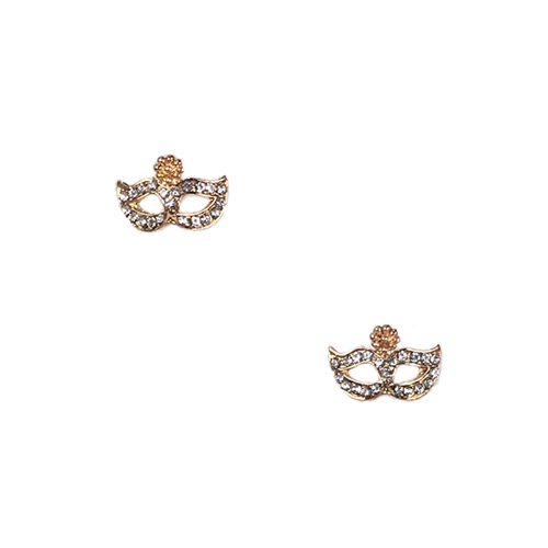 Jewelry Collection Pave Masquerade Mask Stud Earrings