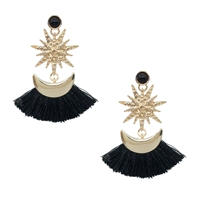 Portia Moon & Stars Tassel Drop Earrings, Black