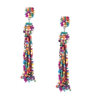 Allegra Colorful Beaded Tassel Drop Earrings