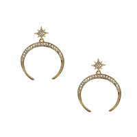 Jewelry Collection Pave Star & Moon Drop Earrings
