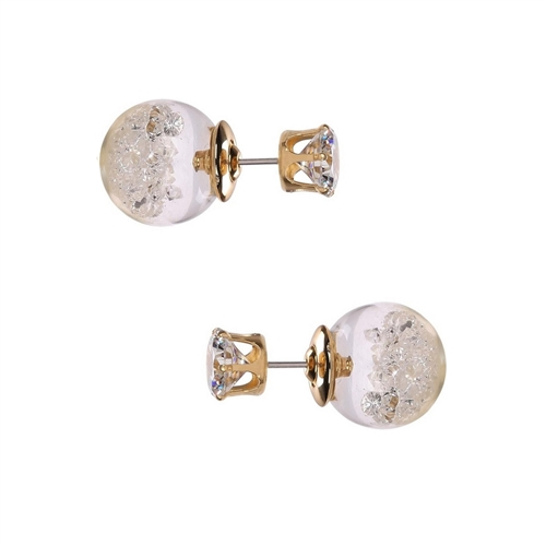 Jewelry Collection  Solitaire & Crystal Ball Double Stud Earrings