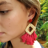 Mamba Woven Rattan Tassel Drop Earrings
