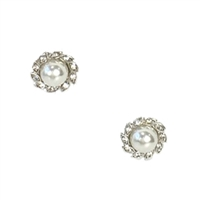 Petite Simulated Pearl Crystal Stud Earrings