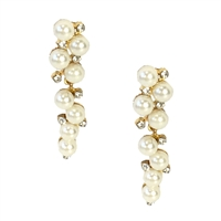Pearly Delight Simulated Pearl Crystal Linear Drop Earrings