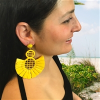 Jewelry Collection Freesia Raffia Tassel Statement Drop Earrings