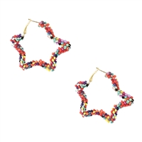 Jewelry Collection Starstruck Beaded Star Hoop Earrings