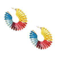 Jewelry Collection Lanai Beaded Statement Hoop Earrings