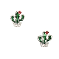 Jewelry Collection Pave Flower Cactus Stud Earrings