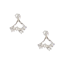 Jewelry Collection Delicate Sparkler Crystal Ear Jacket Stud Earrings,