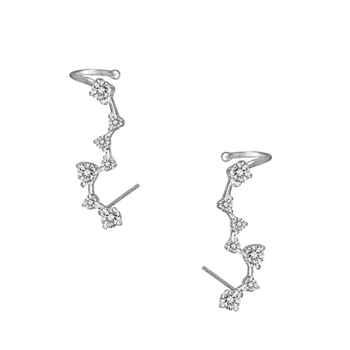 Graceful Sparkler Crystal Ear Climber Cuff Earrings