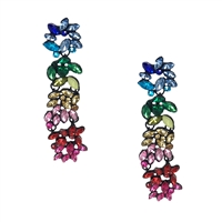 Rainbow Drops Statement Crystal Earrings Multi
