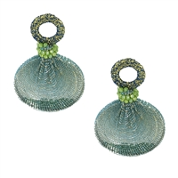 Shimmer Caged Bead Circle Drop Earrings, Green Multi