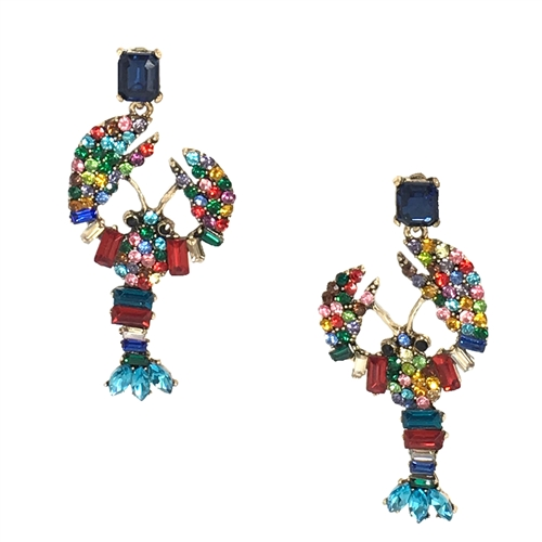 Lara Crystal Encrusted Lobster Statement Earrings