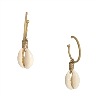 The Bagtique Cowrie Shell Charm Hoop Earrings