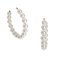 "Simulated Pearl Beaded 2.5"" Hoop Earrings"