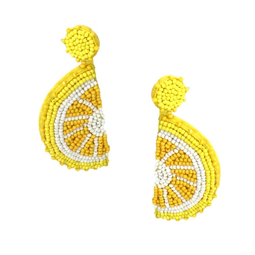 Tarty Lemon Slice Beaded Drop Earrings,