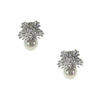 Bea Crystal Cluster Simulated Pearl Stud Earrings