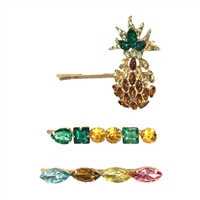 Pineapple Dreams Crystal Embellished Hair Pin Set