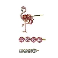 Flamingle Flamingo Crystal Embellished Hair Pin Set