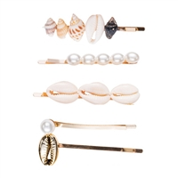 Beachy Cowrie Shell Seashell Embellished Hair Pin Set