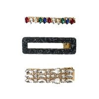 Emily Marble & Crystal Embellished Hair Clip Set of 3