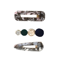 Amelia Marble Resin Embellished Hair Clip Set of 3