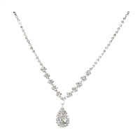 Adesina Crystal Cup Chain Teardrop Pendant Bridal Necklace