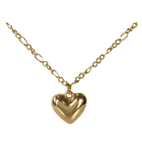 Adalina Puffed Heart Charm Pendant Figaro Chain Necklace