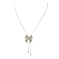 Jewelry Collection Pave Bow Lariat Y Necklace