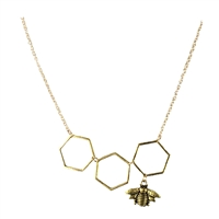 Jewelry Collection Honeycomb Bee Pendant Necklace, Gold