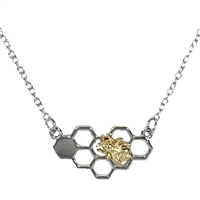 Honeycomb Bumblebee Two Tone Pendant Necklace