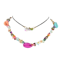 Jewelry Collection Shelly Cowrie Shell Necklace & Floral Choker Set