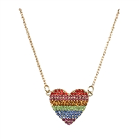 One Love Pave Rainbow Heart Pendant Necklace