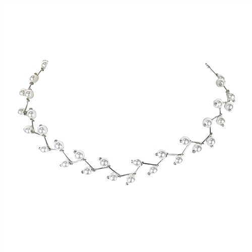 Jewelry Collection Simulated Pearl Zig Zag Choker Necklace