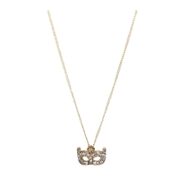 Jewelry Collection Pave Masquerade Mask Pendant Necklace