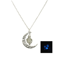 Moon & Glow Stone Heart Penadant Necklace