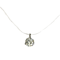 Round Solitaire Floating Penadant Illusion Necklace
