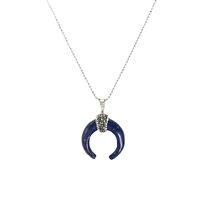 Lapis Stone Crescent Moon Penadant Necklace