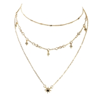 B Jewelry Collection Pave Starburst 3 Line Layer Necklace