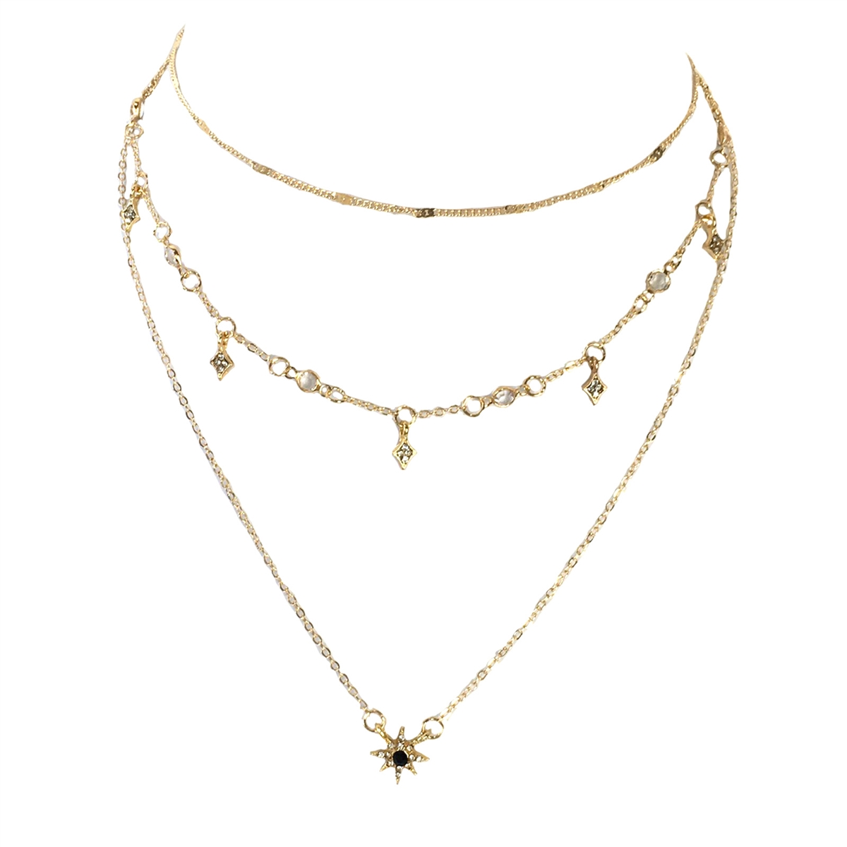 e8791e3d65f85 Jewelry Collection Pave Starburst 3 Line Layer Necklace, Gold