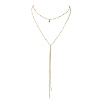 B Jewelry Collection Delicate Knot Long Layer Y Necklace, Gold
