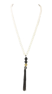 Jewelry Collection Long Beaded Pave Balls Y Necklace Chain Tassel