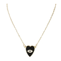 Emily Enamel Heart & Eye Pendant Necklace