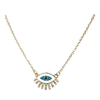 Jewelry Collection Gaia Enamel Evil Eye Pendant Necklace