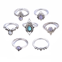 Jewelry Collection Wind Stone Stacking Rings Set of 7 Rings