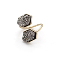 Jewelry Collection Twist Double Druzy Stone Ring