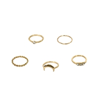 Crescent Moon Stacking Rings Set of 5