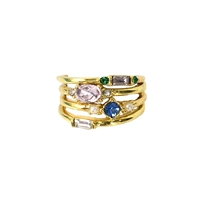 Vintage Vibes Margo Crystal Stacking Rings 4 Ring Set