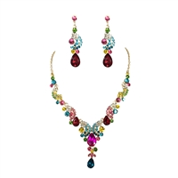 Candy Color Crystal Statement Necklace & Tear Drop Earrings Set